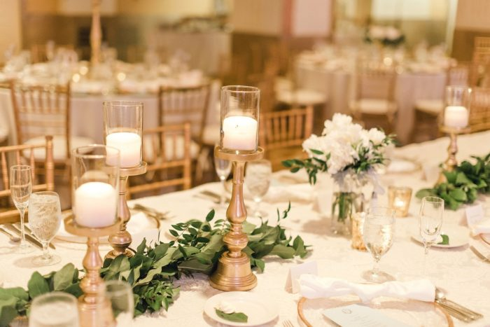 Gold candleholders greenery table runner wedding centerpiece: Timeless & Elegant Omni William Penn Wedding from Dawn Derbyshire Photography & Olive & Rose Events