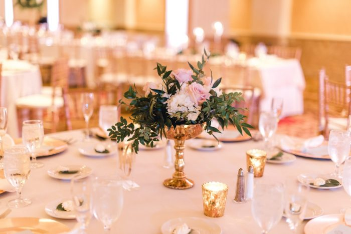 Pink and white wedding flowers gold vase: Timeless & Elegant Omni William Penn Wedding from Dawn Derbyshire Photography & Olive & Rose Events