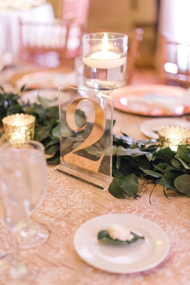 Gold acrylic wedding table numbers: Timeless & Elegant Omni William Penn Wedding from Dawn Derbyshire Photography & Olive & Rose Events