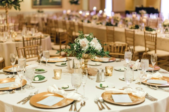 White and pink wedding centerpieces greenery gold chargers: Timeless & Elegant Omni William Penn Wedding from Dawn Derbyshire Photography & Olive & Rose Events