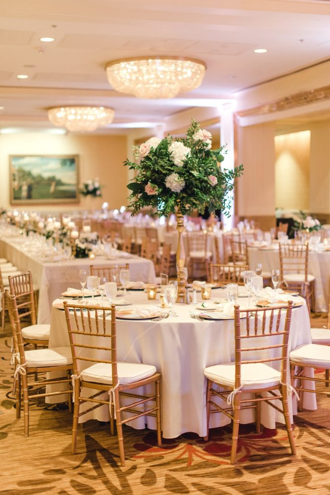 Elevated wedding centerpieces gold chiavari chairs: Timeless & Elegant Omni William Penn Wedding from Dawn Derbyshire Photography & Olive & Rose Events