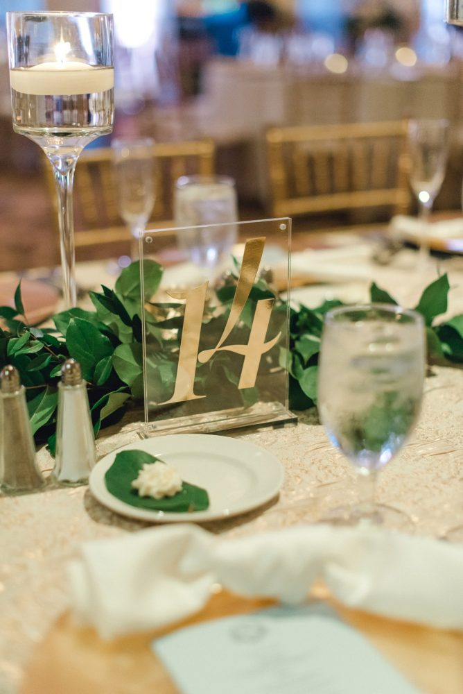 Gold acrylic table numbers: Timeless & Elegant Omni William Penn Wedding from Dawn Derbyshire Photography & Olive & Rose Events