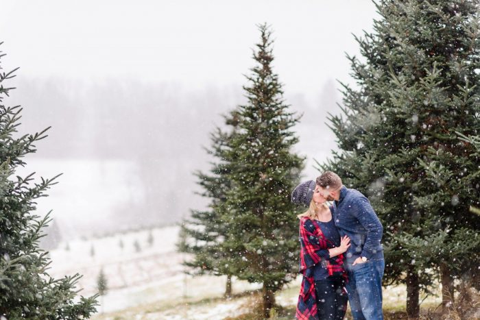 Snowy Pittsburgh Christmas Tree Farm Engagement Session from Alison Mish Photography featured on Burgh Brides