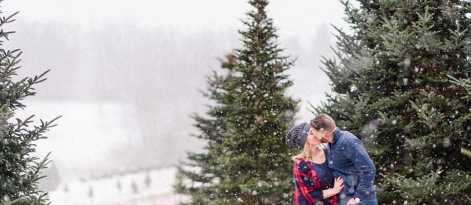 Snowy Christmas Tree Farm Engagement Session