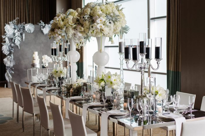 Crystal Glass Candelabras Black Pillar Candles Mirror Tabletop: Gray & White Wedding Inspired Styled Shoot from Michael Will Photographers