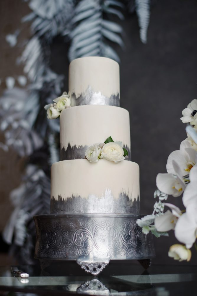 Metallic Silver Wedding Cake: Gray & White Wedding Inspired Styled Shoot from Michael Will Photographers