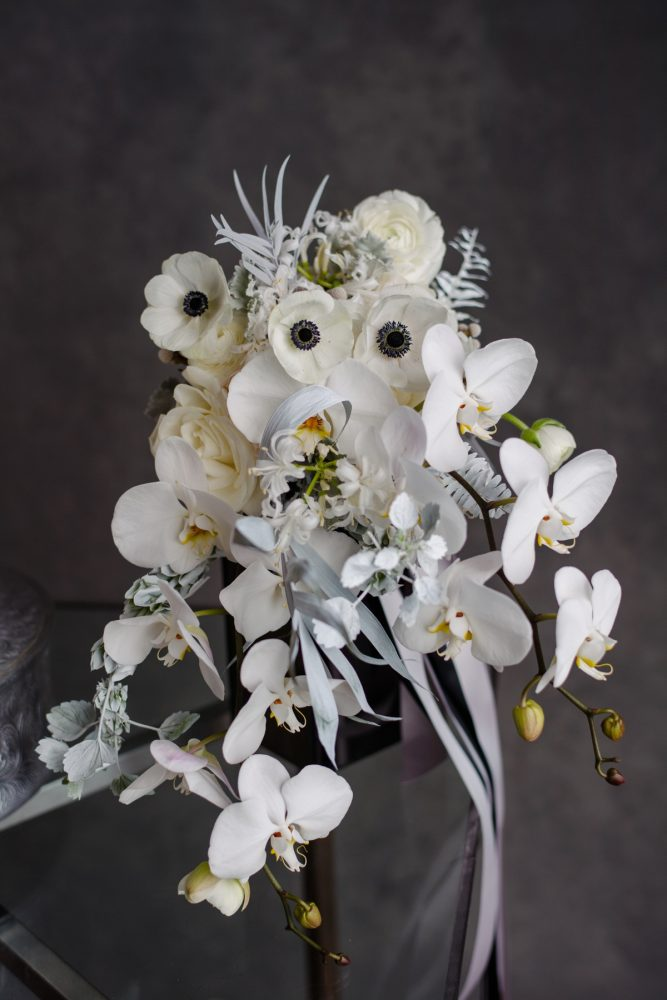 White Anemone Wedding Bouquet: Gray & White Wedding Inspired Styled Shoot from Michael Will Photographers