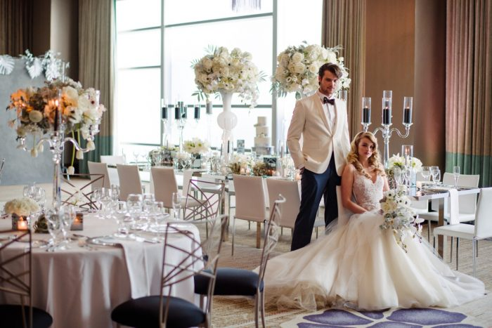 Glamorous Hotel Ballroom Wedding Inspiration: Gray & White Wedding Inspired Styled Shoot from Michael Will Photographers