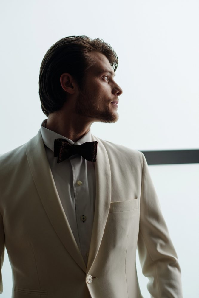 Groom ivory tuxedo jacket: Gray & White Wedding Inspired Styled Shoot from Michael Will Photographers