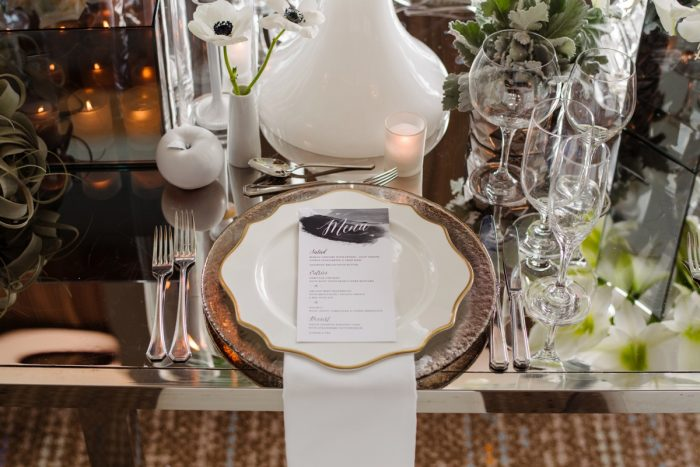 White plate gold rimmed charger white napkin wedding menu card: Gray & White Wedding Inspired Styled Shoot from Michael Will Photographers