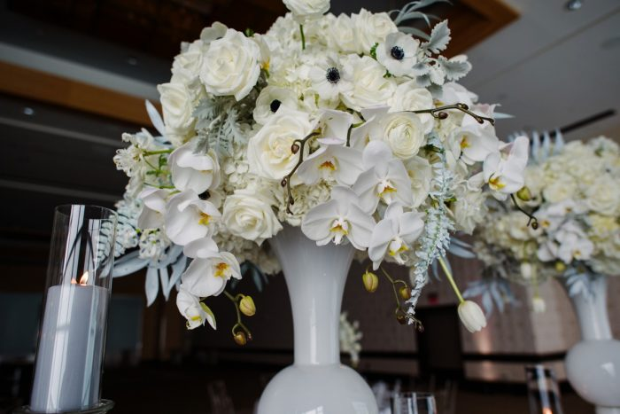 White roses anemones orchids dusty miller wedding centerpiece: Gray & White Wedding Inspired Styled Shoot from Michael Will Photographers