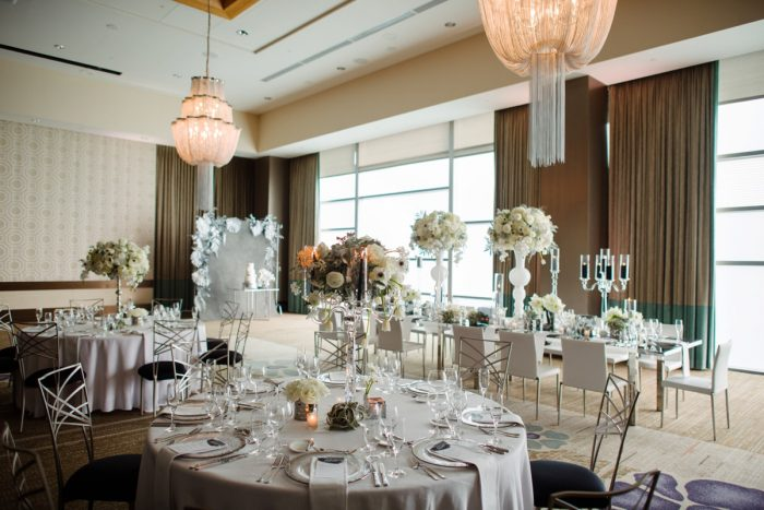 Glamorous gray and white wedding decor: Gray & White Wedding Inspired Styled Shoot from Michael Will Photographers