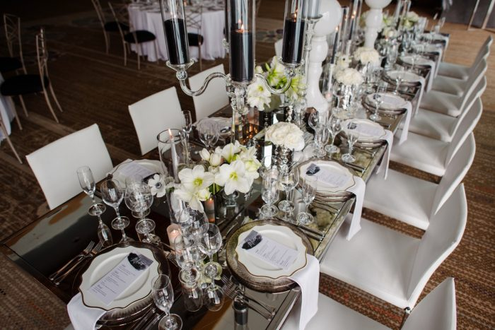 Mirror table top white plates gold rimmed chargers white napkins white and black menu cards: Gray & White Wedding Inspired Styled Shoot from Michael Will Photographers