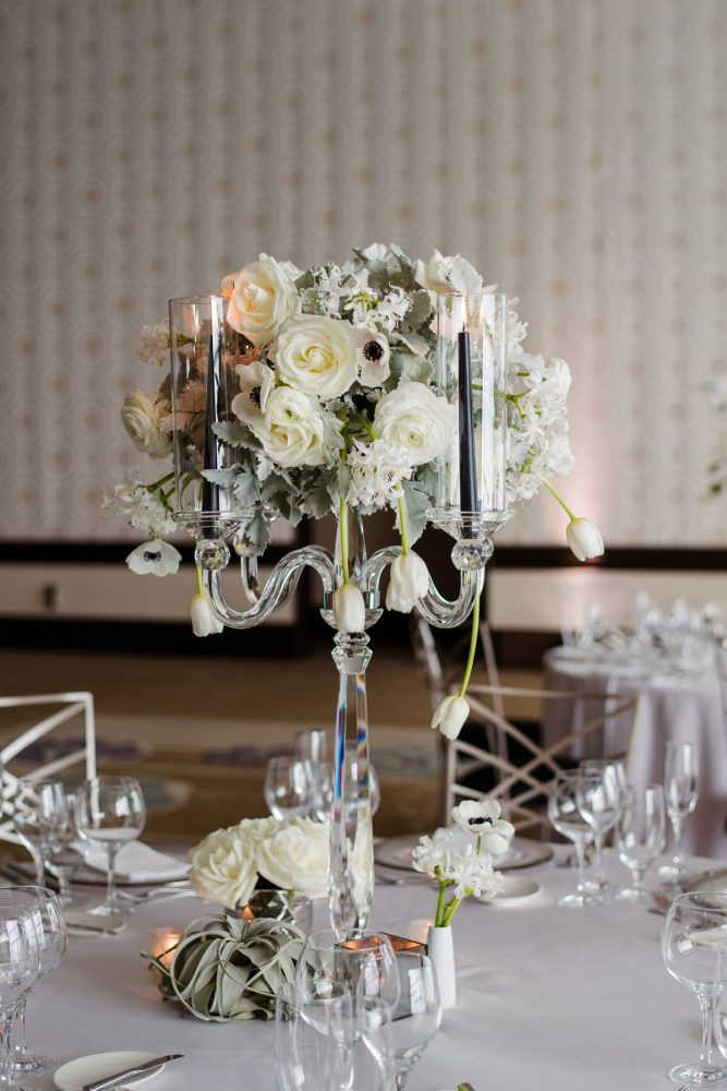 Clear crystal candelabras black taper candles white and gray wedding centerpiece: Gray & White Wedding Inspired Styled Shoot from Michael Will Photographers