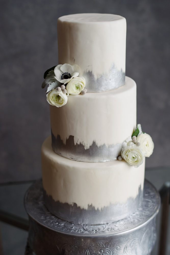 Silver wedding cake: Gray & White Wedding Inspired Styled Shoot from Michael Will Photographers