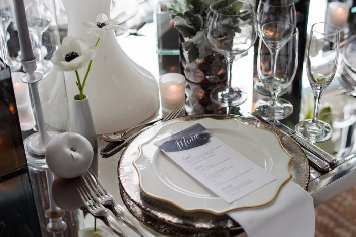 Wedding place setting gold rimmed plates black and white menu card: Gray & White Wedding Inspired Styled Shoot from Michael Will Photographers