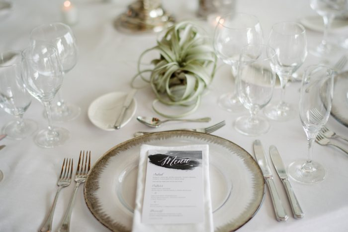 Wedding place setting silver rimmed charger air plant: Gray & White Wedding Inspired Styled Shoot from Michael Will Photographers