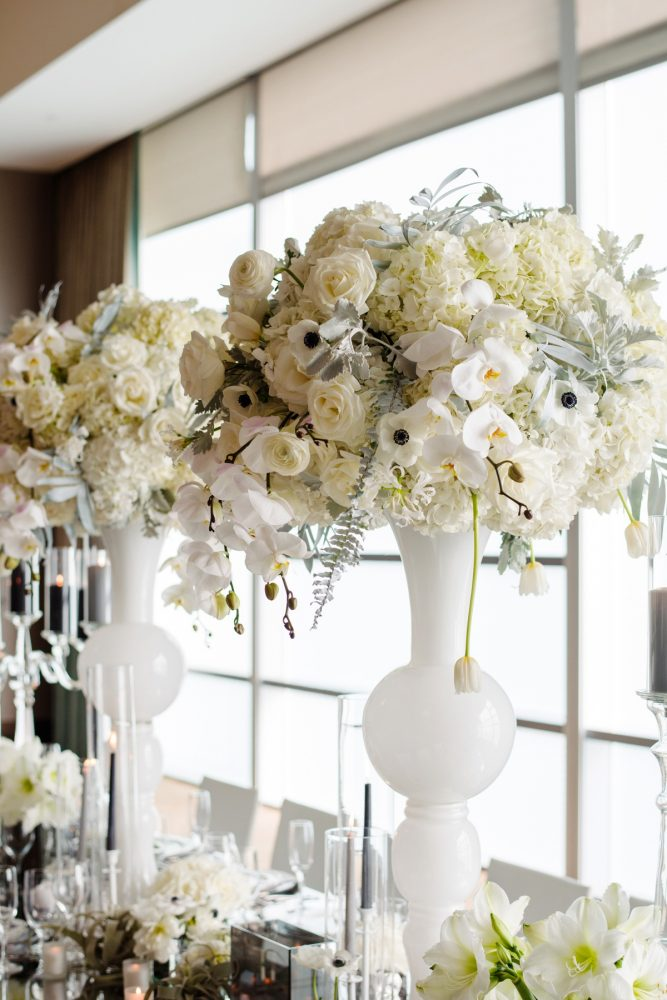 White vases anemones orchids roses wedding flowers: Gray & White Wedding Inspired Styled Shoot from Michael Will Photographers