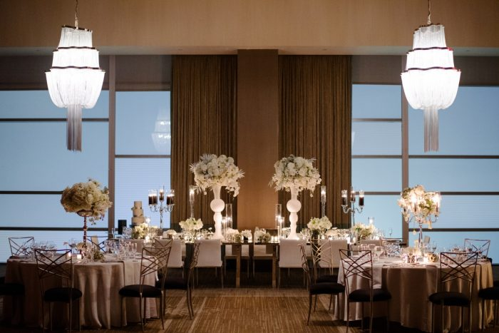 Soft white wedding uplighting: Gray & White Wedding Inspired Styled Shoot from Michael Will Photographers