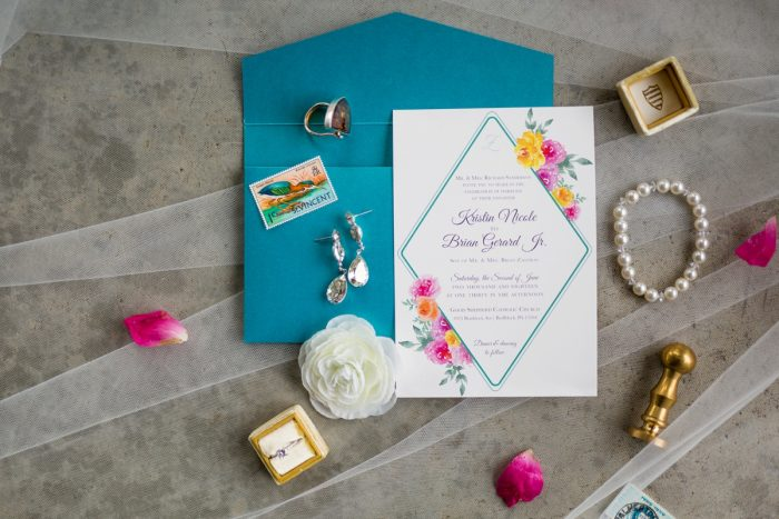 Floral wedding invitations blue envelope: Whimsical Teal Antonelli Event Center Wedding