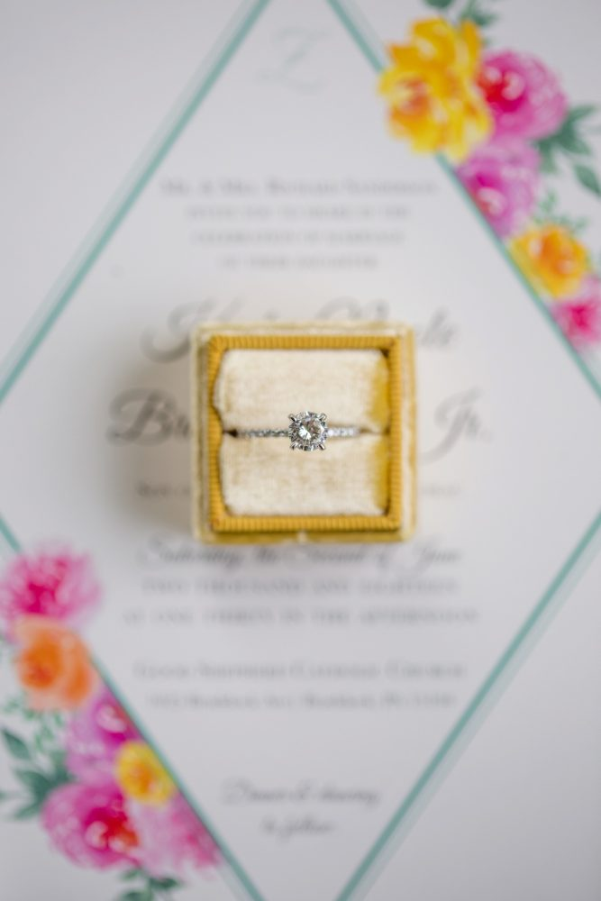 Solitaire diamond engagement ring yellow velvet ring box: Whimsical Teal Antonelli Event Center Wedding