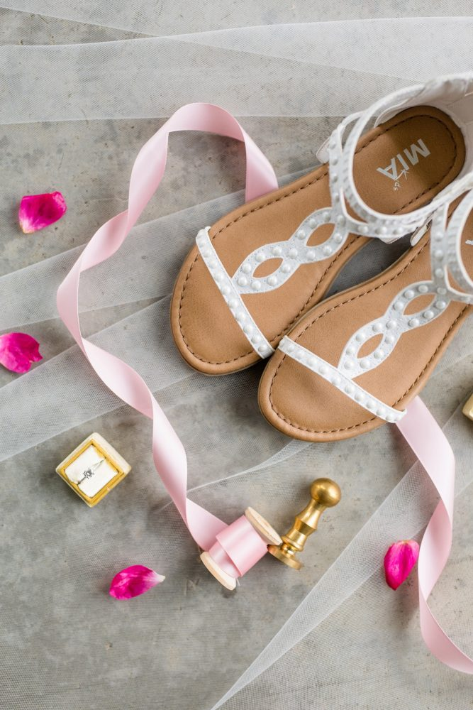 Wedding sandals: Whimsical Teal Antonelli Event Center Wedding