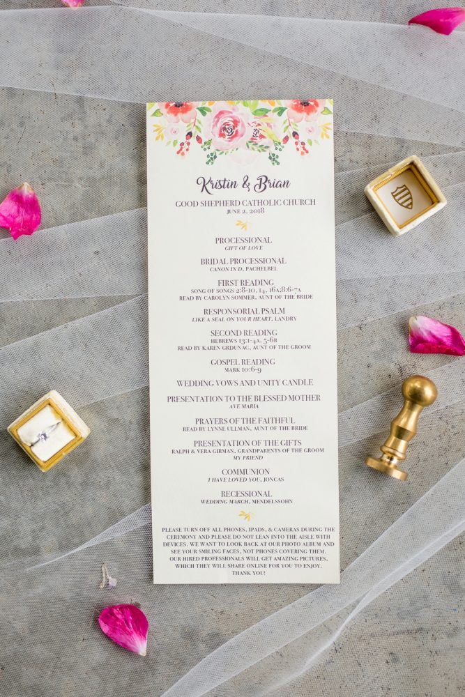 Floral wedding ceremony program: Whimsical Teal Antonelli Event Center Wedding