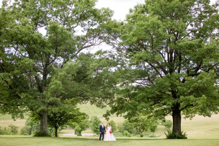Bride and groom wedding portraits trees: Whimsical Teal Antonelli Event Center Wedding