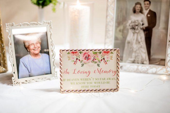 Wedding memorial table: Whimsical Teal Antonelli Event Center Wedding