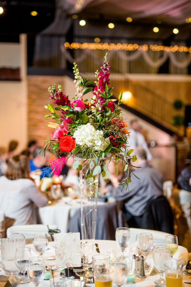 Tall wedding centerpieces hydrangeas, gladiolus: Whimsical Teal Antonelli Event Center Wedding