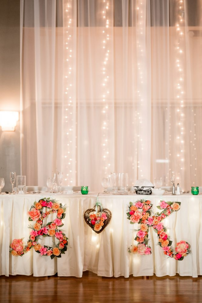 Floral bride and groom initials wedding head table decor: Whimsical Teal Antonelli Event Center Wedding