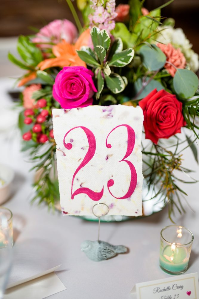 Magenta wedding table numbers: Whimsical Teal Antonelli Event Center Wedding