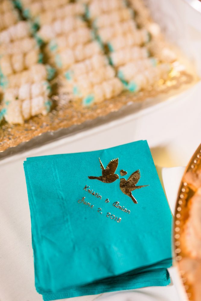 Custom foil wedding cocktail napkins: Whimsical Teal Antonelli Event Center Wedding