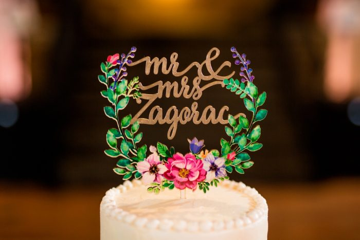 Custom wooden wedding cake topper: Whimsical Teal Antonelli Event Center Wedding