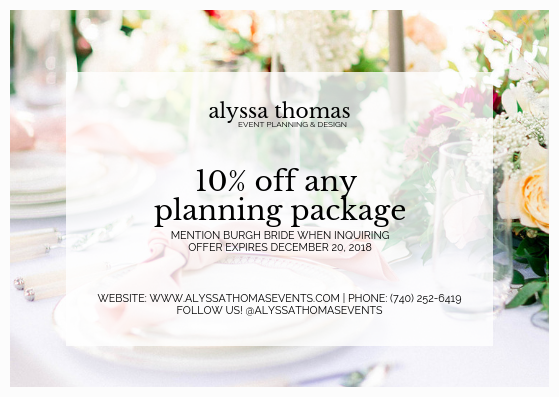 Pittsburgh Wedding Vendors Offering Thanksgiving Weekend Specials & Promos! Find more Pittsburgh wedding vendors on burghbrides.com!