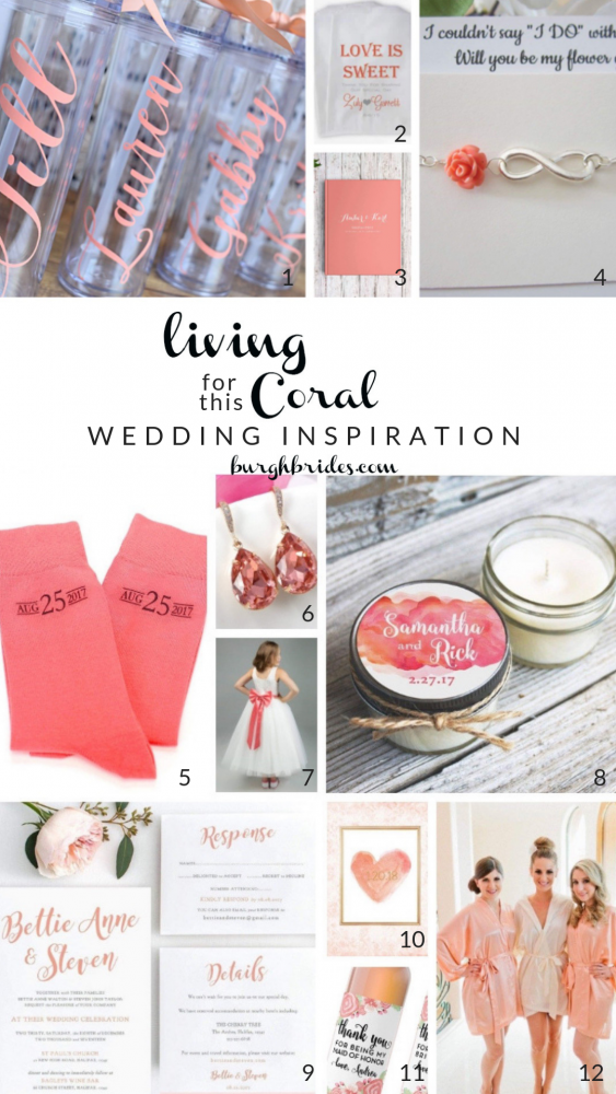 We're LIVING for this CORAL Wedding Inspiration. Find more living coral wedding inspiration and other ideas for the 2019 Pantone Color of the Year on burghbrides.com!