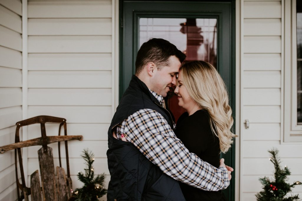 At Home Holiday Engagement Session. For more Pittsburgh engagement ideas, visit burghbrides.com!