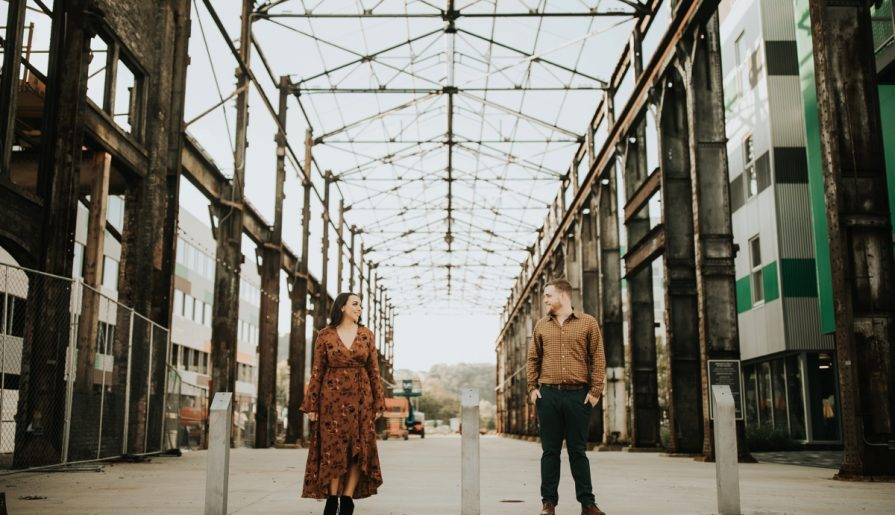 Hip Urban Lawrenceville Engagement with Amazing Views. For more engagement inspiration, visit burghbrides.com!
