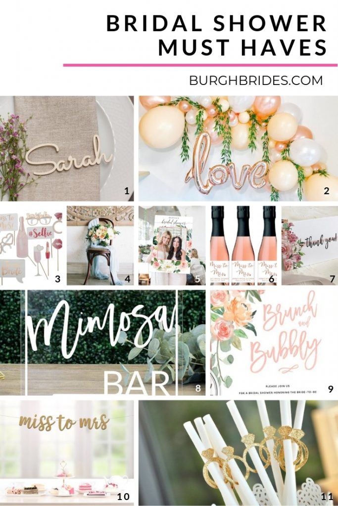 Bridal Shower Must Haves. For more bridal shower inspiration, visit burghbrides.com!