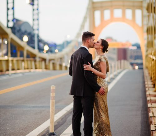 Fancy Downtown Pittsburgh Engagement Session. For more engagement photo ideas, visit burghbrides.com!