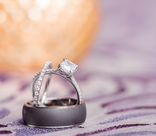 Modern Plum & Gray Circuit Center Wedding. For more contemporary wedding ideas, visit burghbrides.com!