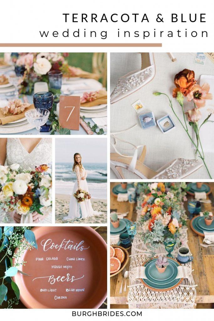 Terracotta & Blue Wedding Inspiration. For more wedding color ideas, visit burghbrides.com!