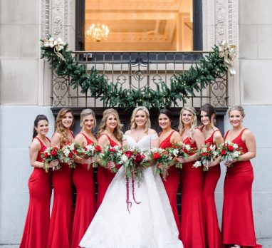 Festive Holiday Omni William Penn Hotel Wedding. For more Christmas wedding ideas, visit burghbrides.com!