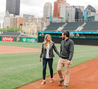 PNC Park Engagement Session. For more fun engagement photo ideas, visit burghbrides.com!