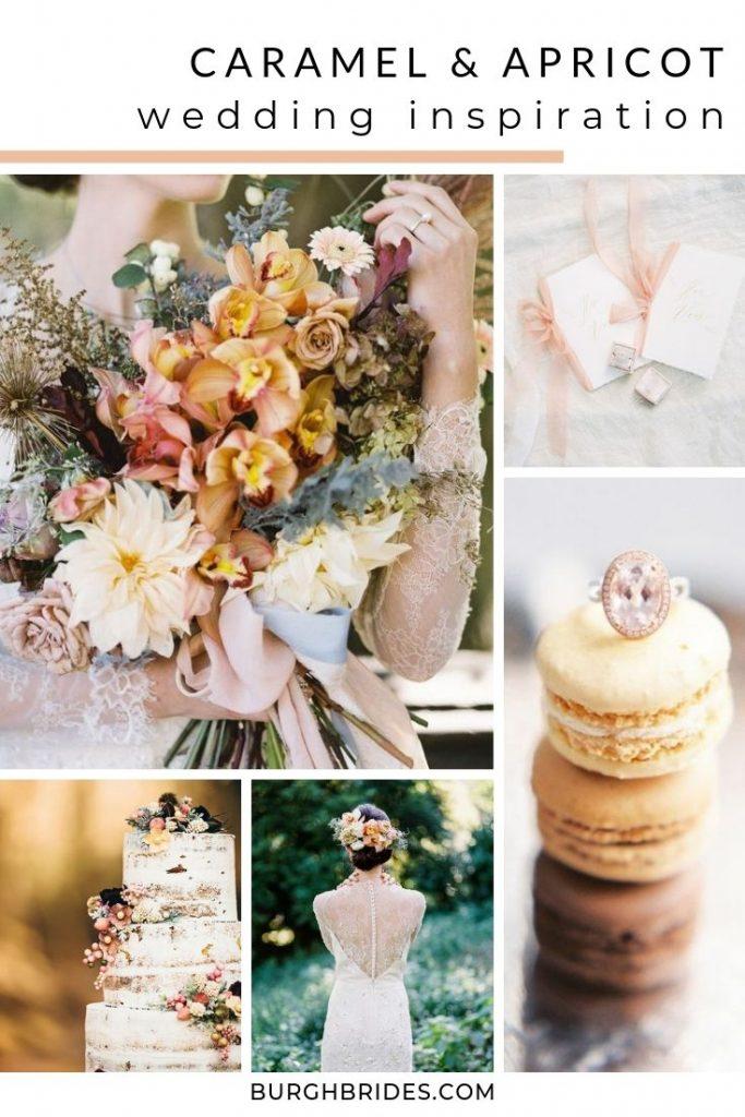 Warm Caramel & Apricot Wedding Inspiration. For more wedding color palettes, visit burghbrides.com!