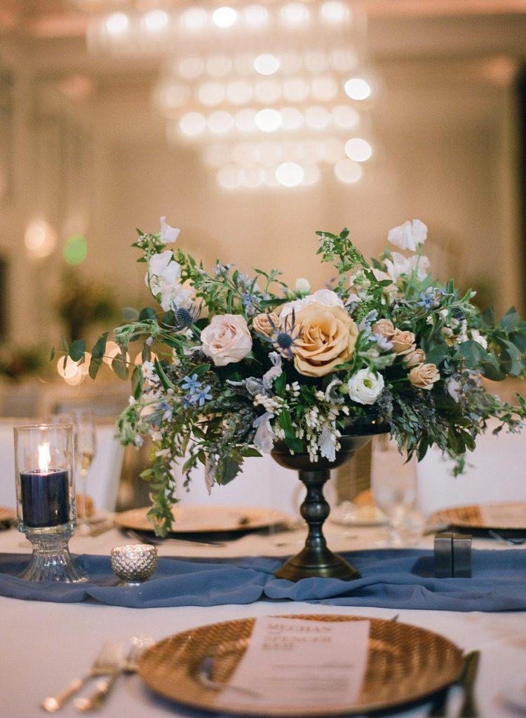 Peach & Pale Blue Hotel Monaco Wedding. For more spring wedding inspiration, visit burghbrides.com!