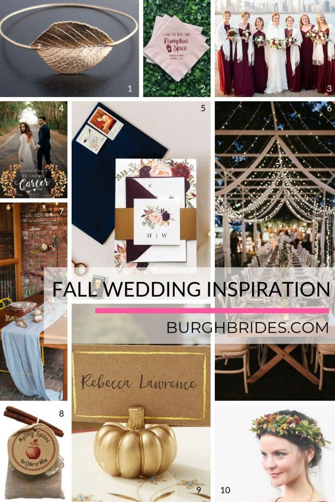 FALL in Love with these Autumn Wedding Must Haves. For more fall wedding ideas, visit burghbrides.com!