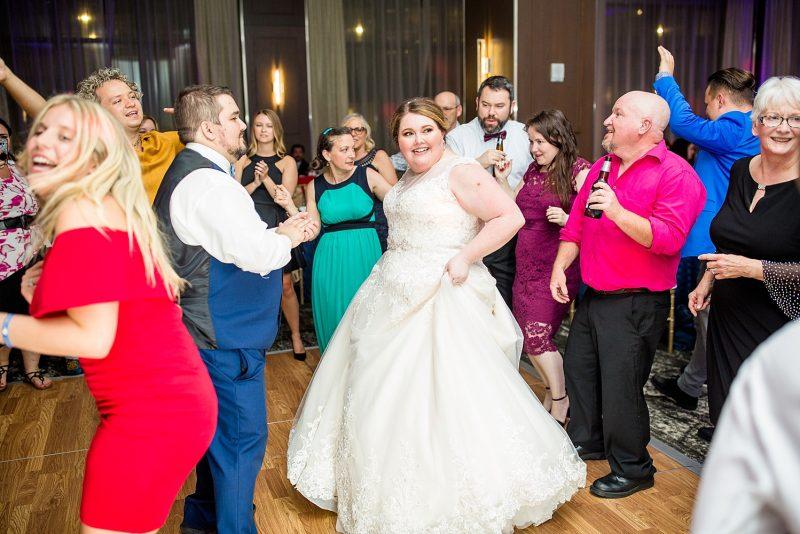 Bride on dance floor at wedding