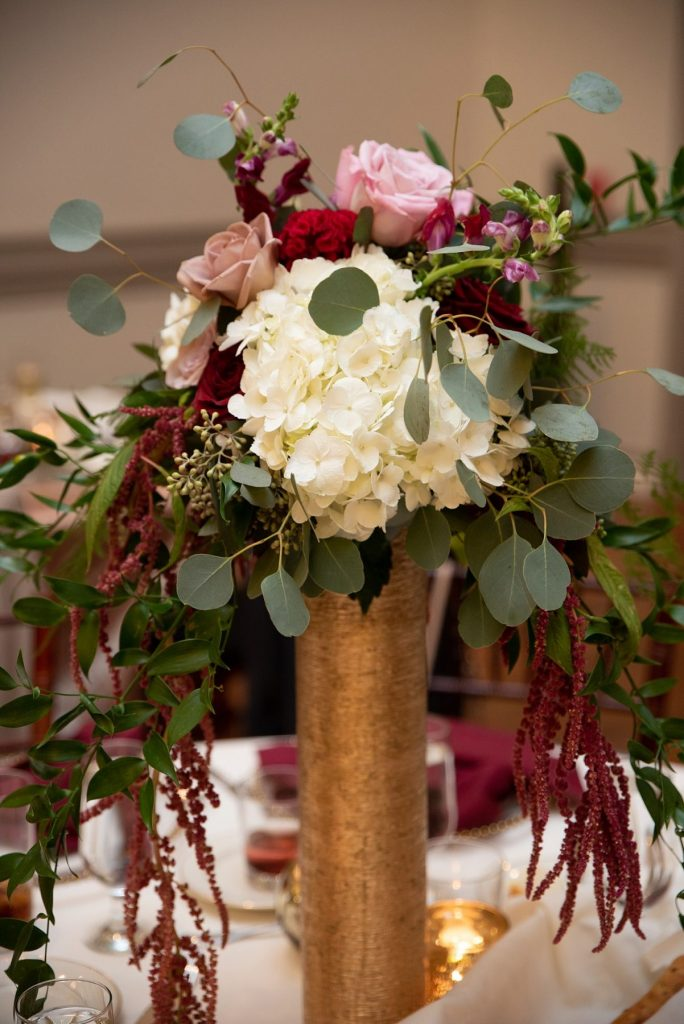 Burgundy & Blush Wedding at Noah's Event Center. For more romantic wedding ideas, visit burghbrides.com!