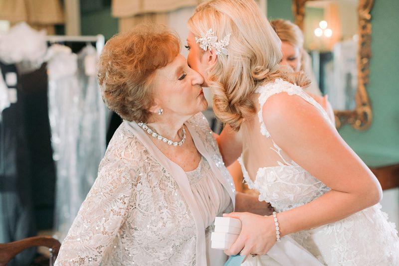 Bride kissing grandmother